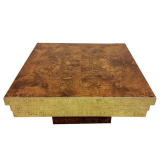 Pierre Cardin Brass and Burl Coffee Table
