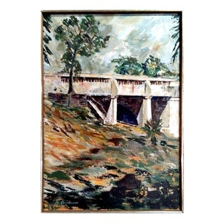 """Bridge #2"" Post-Impressionist Oil Painting by G. Andrew"