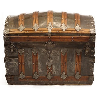 Late 19th-C. Tin Embossed Steamer Trunk