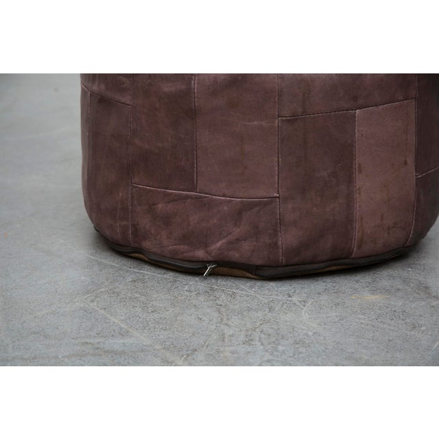 Image of Brown Leather De Sede Style Patchwork Ottoman