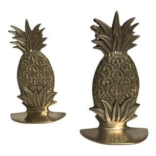 Hollywood Regency Brass Pineapple Bookends - A Pair
