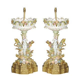 Antique Meissen Porcelain Table Lamps - A Pair