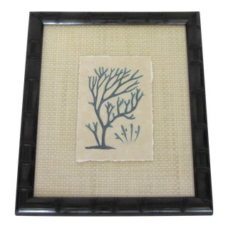 Blue Coral Watercolor Art in Bamboo Frame