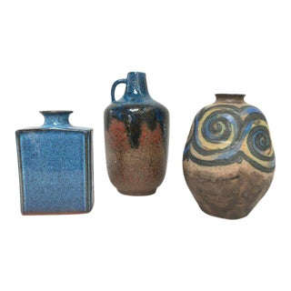 Danish Modern Ceramic Pottery Vases - Set of 3
