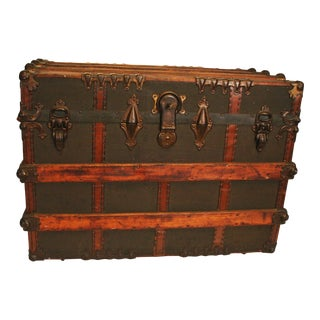 Antique Large Wood Ornate Steamer Trunk