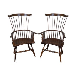 Custom Fan Back Windsor Arm Chairs - A Pair