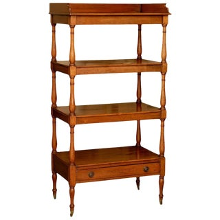 English 1870s Trolley with Four Shelves, Column Supports and Single Drawer
