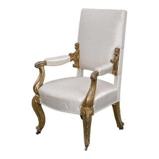 English Antique Regency Giltwood Open Armchair, Circa 1820