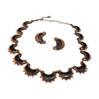 Renoir Copper Modernist Crescent Necklace Earrings