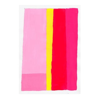 Contemporary Geometric Pink & Yellow Acrylic Painting
