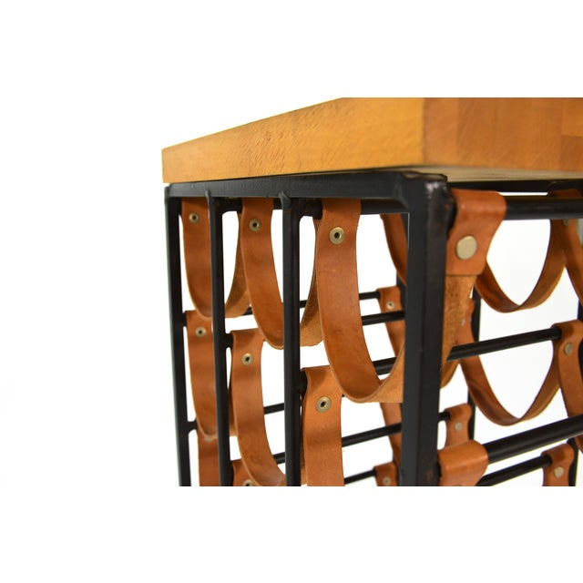 Arthur Umanoff Iron and Leather Wine Rack - Image 3 of 3