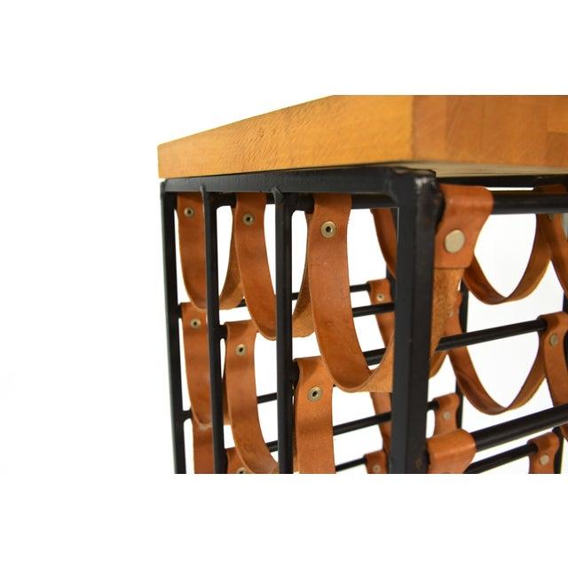 Image of Arthur Umanoff Iron and Leather Wine Rack