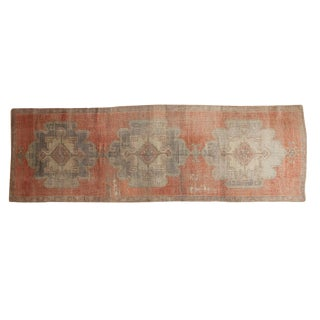 "Vintage Distressed Oushak Rug Runner - 3'5"" x 10'4"""