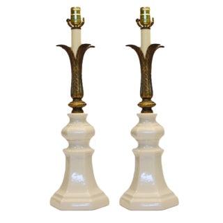 Art Deco Crackle-Glazed Ceramic Lamps - A Pair