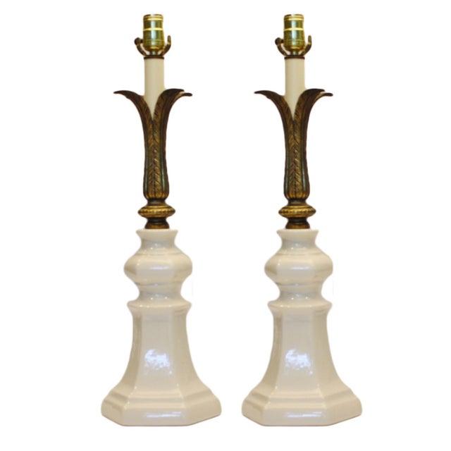 Image of Art Deco Crackle-Glazed Ceramic Lamps - A Pair