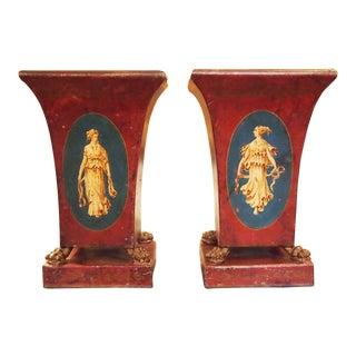 Pair of 19c. Neoclassical Tole Vases