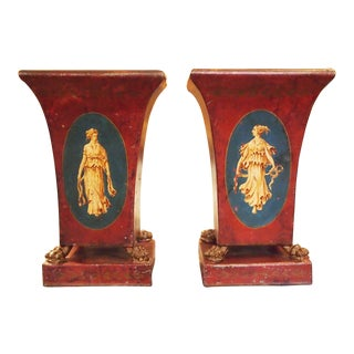 Pair of 19c. Neoclassical Tole Vases