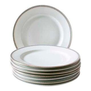 Greek Key Dinner Plates French Limoges Porcelain - Set of 8