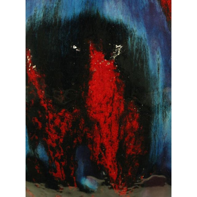 Large Blue, Black & Red Gourd Form Table Lamp - Image 6 of 8