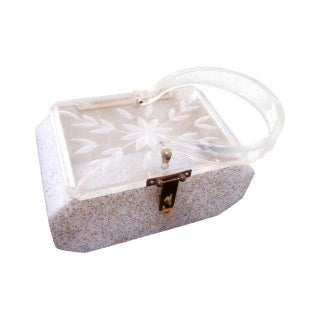 Vintage Art Deco Lucite Glitter Purse Box