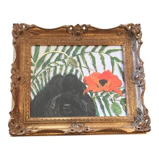 "Portuguese Water Dog Print ""Portie With Poppy"""