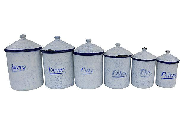 French Kitchen Canisters: Vintage French Enamel Kitchen Canisters - Set Of 6
