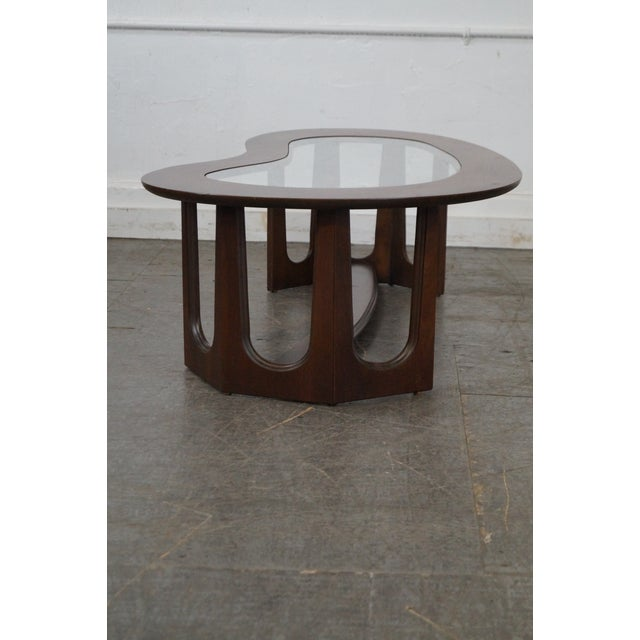Mid-Century Boomerang Walnut & Glass Top Coffee Table - Image 3 of 10