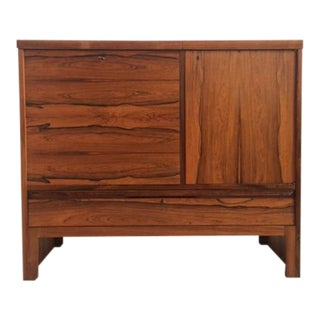 Mid-Century Rosewood Bar With Refrigerator