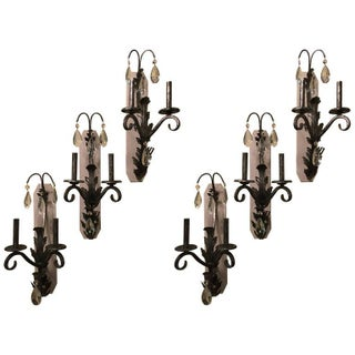 Schonbek Rustic Silver Wall Sconces - Set of 6
