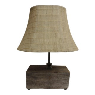 Rustic Wood & Linen Mesh Table Lamp