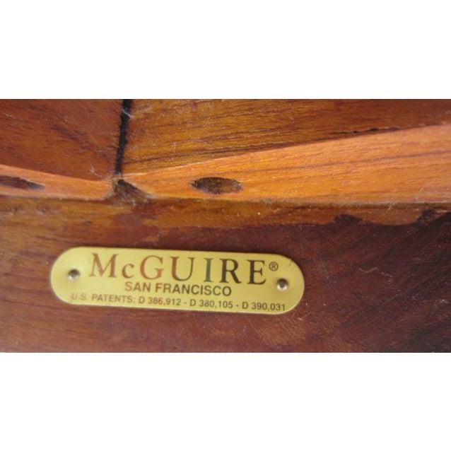 McGuire Orlando Diaz-Azcuy Portico Solid Teak Barstools - Set of 3 - Image 8 of 9
