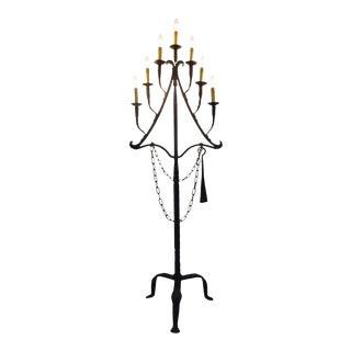 Antique 18th Century Wrought Iron Floor Lamp