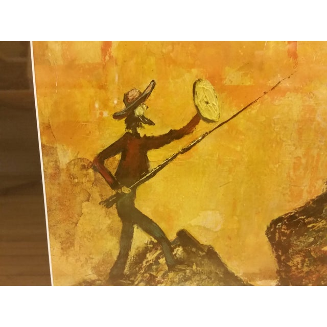 Mid-Century Don Quixote & Windmill Oil Painting - Image 4 of 7