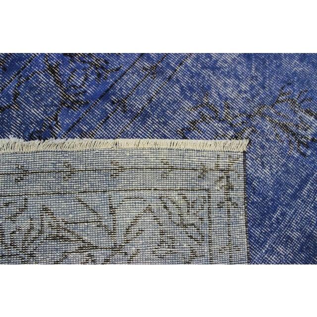 Dark Blue Turkish Over-Dyed Rug - 6′1″ × 10′4″ - Image 8 of 9