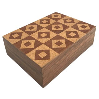Mid-Century Tile Pattern Wooden Box