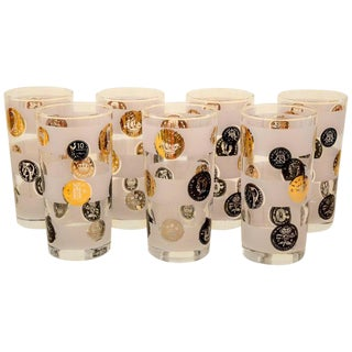 """Seven Libbey Partial Frosted Glass """"Old Coin"""" Tom Collins Glasses"""