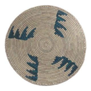 Native American Style Dark Turquoise Step Pattern Basket