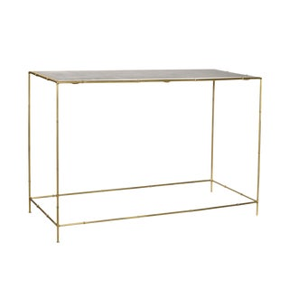 Faux Bamboo & Brass Console Table