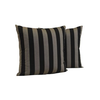 "Custom 22"" x 22"" Black & Grey Striped Pillows"