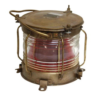 Japanese Nautical Brass Red Lantern
