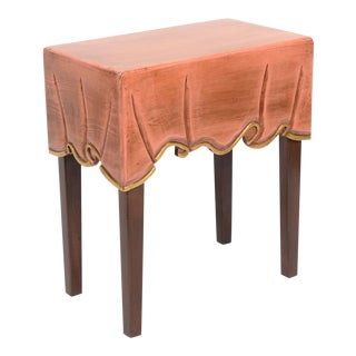 Decorative Table Cloth Clad Wood Side Table