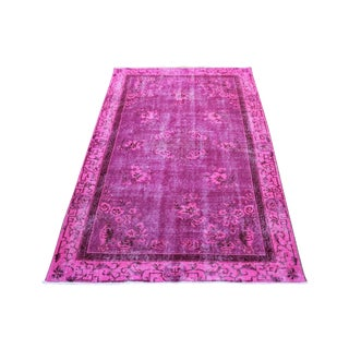Pink Handwoven Overdyed Rug - 3′9″ × 6′2″