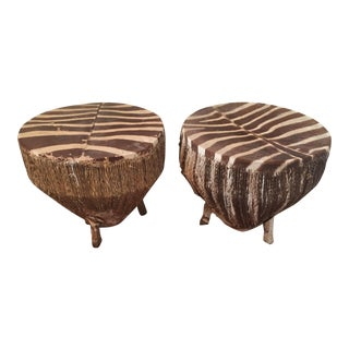 Mid-Century Zebra Skin Drum Tables - A Pair