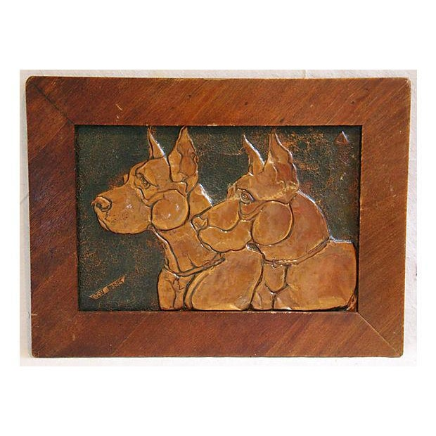 Mid-Century Copper Great Dane Dog Plaque - Image 2 of 4