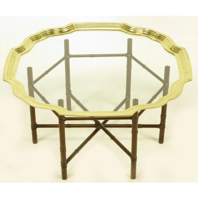 Iron Bamboo-Form Coffee Table With Brass Rimmed Glass Tray - Image 2 of 7