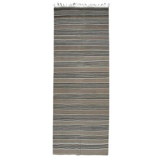 Striped Kilim Wide Runner in Natural Brown