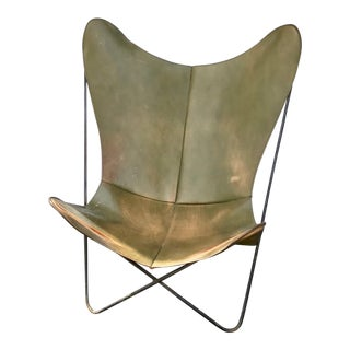 Vintage Hardoy for Knoll Green Leather Sling Butterfly Chair