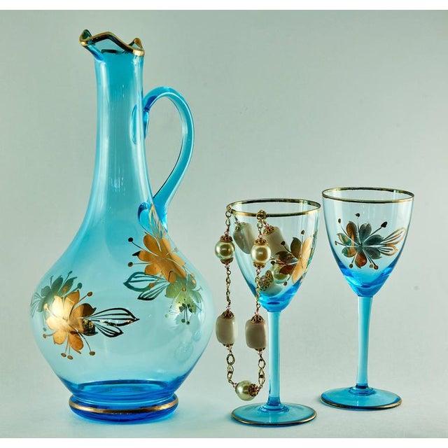 Sea Blue & Gold Leaf Decanter & Glassware Set - Image 7 of 10
