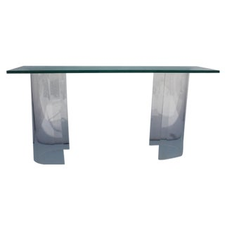 Vintage Oval Lucite Base Console Table