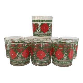 Poinsettia Cocktail Glasses – Set of 8